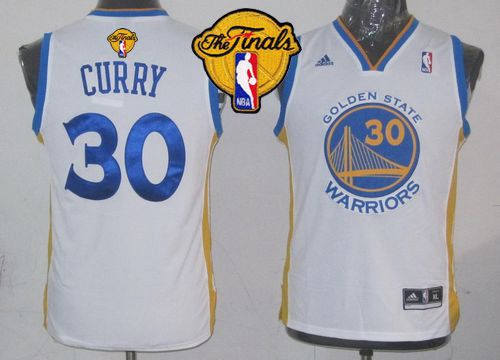 Revolution 30 Warriors #30 Stephen Curry White The Finals Patch Stitched Youth NBA Jersey