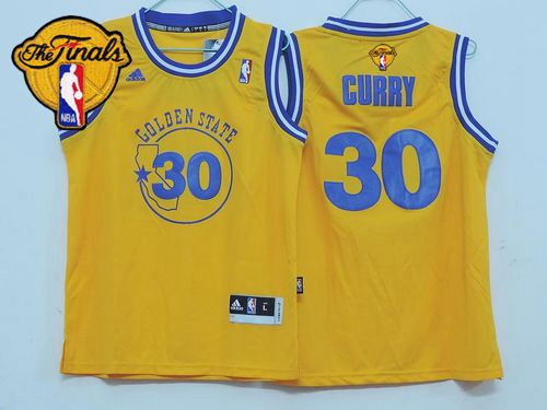 Warriors #30 Stephen Curry Gold Throwback The Finals Patch Stitched Youth NBA Jersey