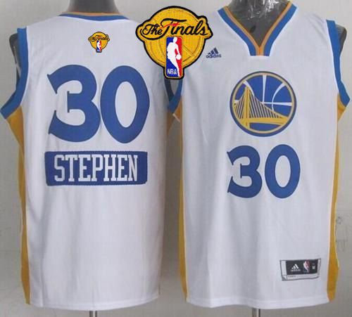 Warriors #30 Stephen Curry White 2014-15 Christmas Day The Finals Patch Stitched Youth NBA Jersey