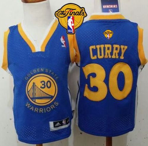 Toddler Warriors #30 Stephen Curry Blue The Finals Patch Stitched NBA Jersey