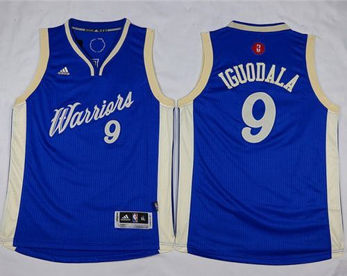 Warriors #9 Andre Iguodala Blue 2015-2016 Christmas Day Stitched Youth NBA Jersey
