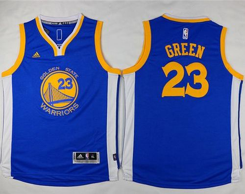 Warriors #23 Draymond Green Blue Stitched Youth NBA Jersey