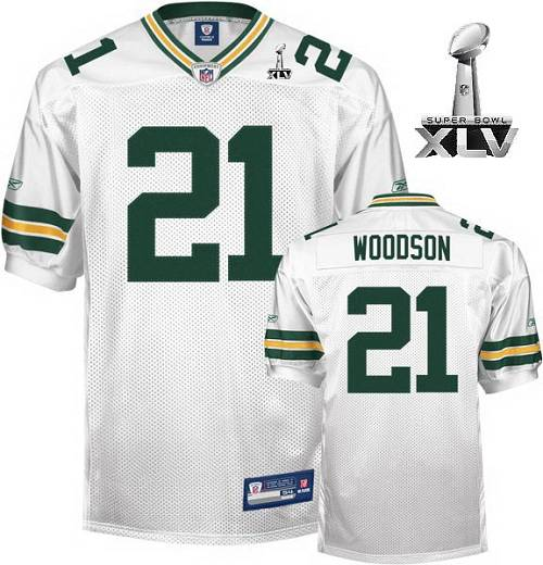 Packers #21 Charles Woodson White Super Bowl XLV Stitched Youth NFL Jersey