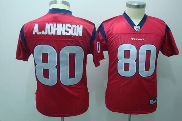 Texans #80 A.Johnson Red Stitched Youth NFL Jersey