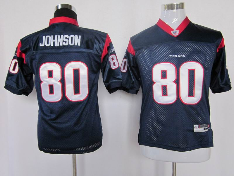 Texans #80 A.Johnson Blue Stitched Youth NFL Jersey