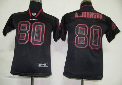 Texans #80 A.Johnson Lights Out Black Stitched Youth NFL Jersey