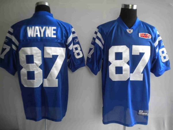 Colts #87 Reggie Wayne Blue With Super Bowl Patch Stitched Youth NFL Jersey