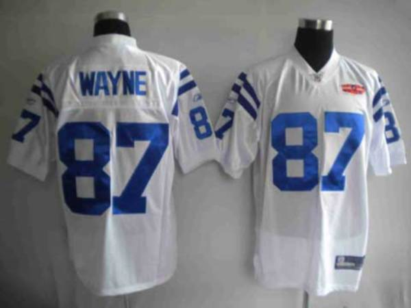 Colts #87 Reggie Wayne White With Super Bowl Patch Stitched Youth NFL Jersey
