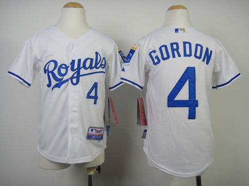 Royals #4 Alex Gordon White Cool Base Stitched Youth MLB Jersey