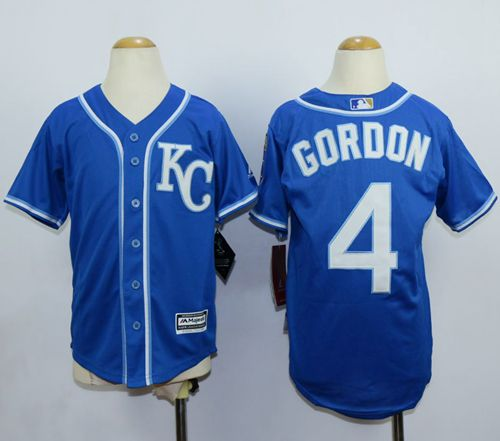 Royals #4 Alex Gordon Blue Cool Base Stitched Youth MLB Jersey