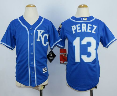 Royals #13 Salvador Perez Blue Cool Base Stitched Youth MLB Jersey