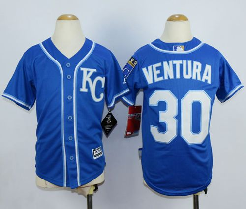 Royals #30 Yordano Ventura Blue Cool Base Stitched Youth MLB Jersey