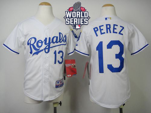 Royals #13 Salvador Perez White Cool Base W/2015 World Series Patch Stitched Youth MLB Jersey