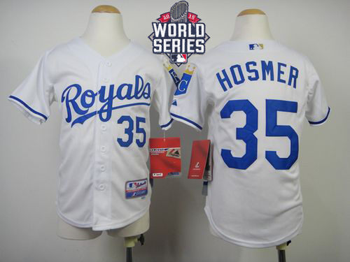 Royals #35 Eric Hosmer White Cool Base W/2015 World Series Patch Stitched Youth MLB Jersey
