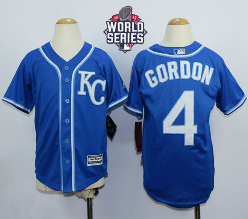 Royals #4 Alex Gordon Blue Cool Base W/2015 World Series Patch Stitched Youth MLB Jersey