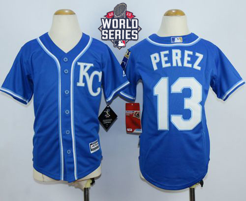 Royals #13 Salvador Perez Blue Cool Base W/2015 World Series Patch Stitched Youth MLB Jersey