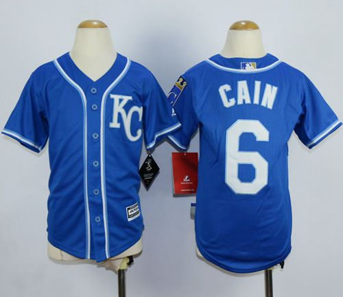 Royals #6 Lorenzo Cain Blue Alternate 2 Cool Base Stitched Youth MLB Jersey
