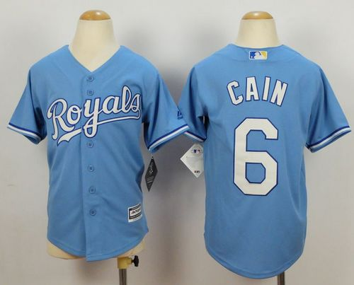 Royals #6 Lorenzo Cain Blue Cool Base Alternate 1 Stitched Youth MLB Jersey