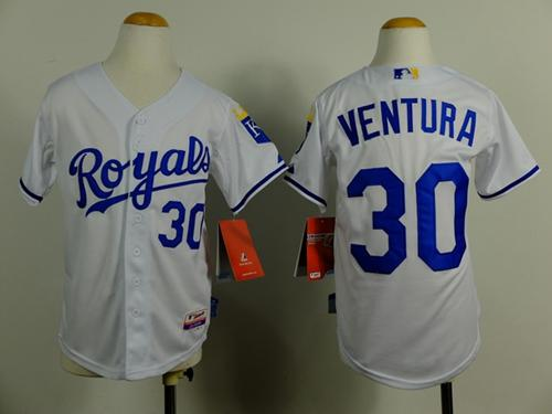 Royals #30 Yordano Ventura White Cool Base Stitched Youth MLB Jersey