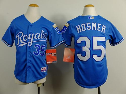 Royals #35 Eric Hosmer Blue Cool Base Alternate 1 Stitched Youth MLB Jersey
