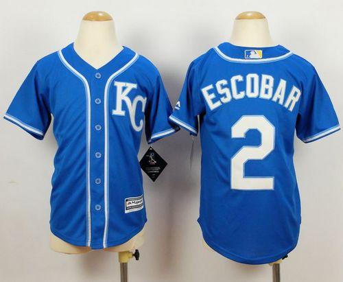 Royals #2 Alcides Escobar Blue Alternate 2 Cool Base Stitched Youth MLB Jersey
