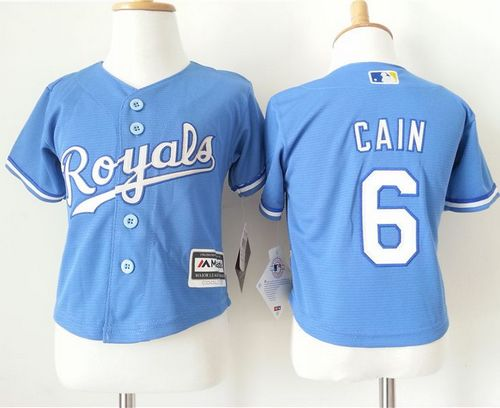 Toddler Royals #6 Lorenzo Cain Light Blue Alternate 1 Cool Base Stitched MLB Jersey