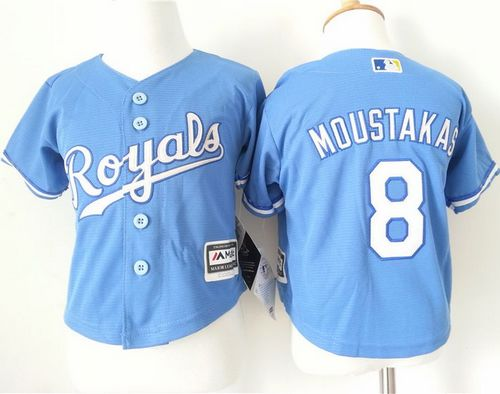 Toddler Royals #8 Mike Moustakas Light Blue Alternate 1 Cool Base Stitched MLB Jersey