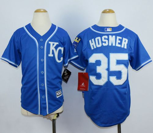 Royals #35 Eric Hosmer Blue Alternate 2 Cool Base Stitched Youth MLB Jersey