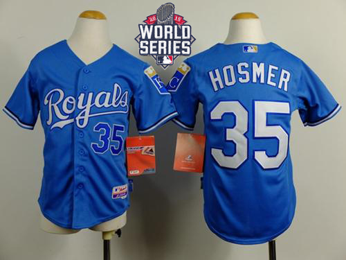 Royals #35 Eric Hosmer Blue Cool Base Alternate 1 W/2015 World Series Patch Stitched Youth MLB Jersey