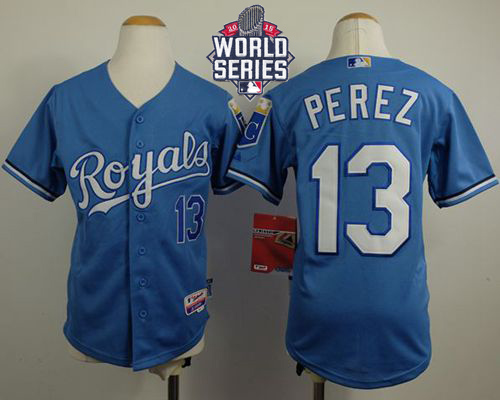 Royals #13 Salvador Perez Light Blue Cool Base Alternate 1 W/2015 World Series Patch Stitched Youth MLB Jersey