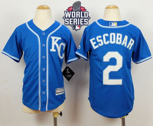 Royals #2 Alcides Escobar Blue Alternate 2 Cool Base W/2015 World Series Patch Stitched Youth MLB Jersey
