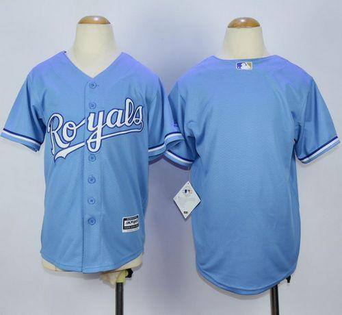 Royals Blank Light Blue Alternate 1 Cool Base Stitched Youth MLB Jersey