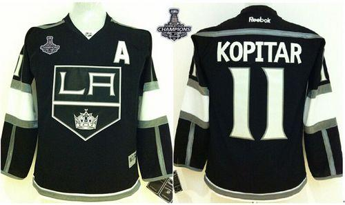 Kings #11 Anze Kopitar Black Home 2014 Stanley Cup Champions Stitched Youth NHL Jersey