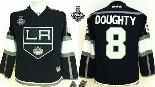 Kings #8 Drew Doughty Black Home 2014 Stanley Cup Finals Stitched Youth NHL Jersey