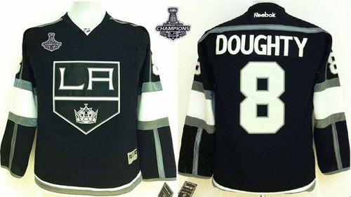 Kings #8 Drew Doughty Black Home 2014 Stanley Cup Champions Stitched Youth NHL Jersey