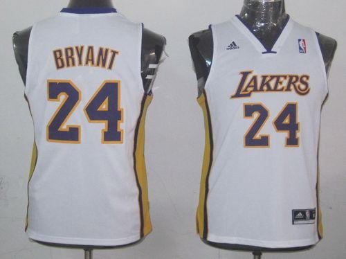 Lakers #24 Kobe Bryant White Champion Patch Stitched Youth NBA Jersey