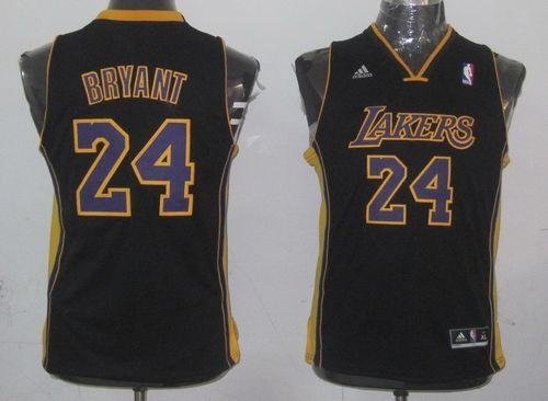 Lakers #24 Kobe Bryant Black Champion Patch Stitched Youth NBA Jersey