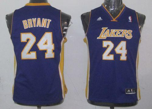 Lakers #24 Kobe Bryant Purple Champion Patch Stitched Youth NBA Jersey