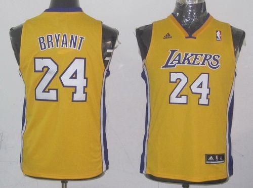 Lakers #24 Kobe Bryant Yellow Champion Patch Stitched Youth NBA Jersey