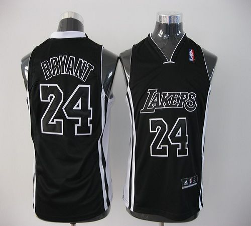 Lakers #24 Kobe Bryant Black Shadow Stitched Youth NBA Jersey