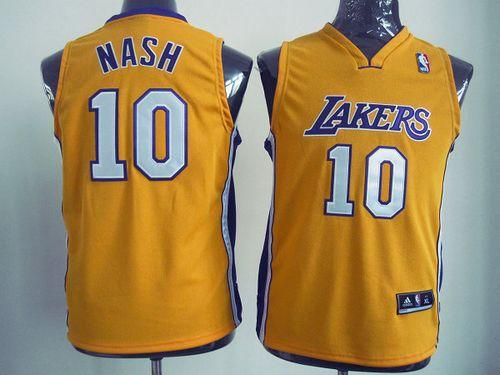 Revolution 30 Lakers #10 Steve Nash Yellow Stitched Youth NBA Jersey