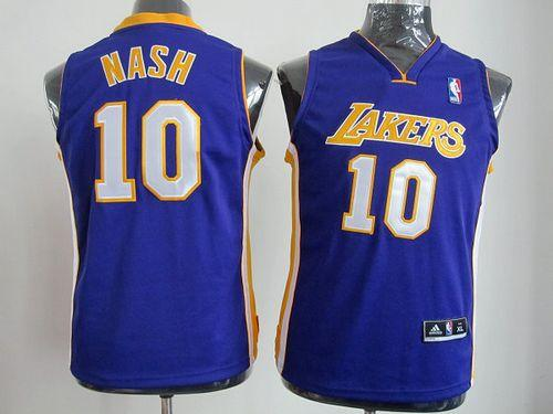 Revolution 30 Lakers #10 Steve Nash Purple Stitched Youth NBA Jersey