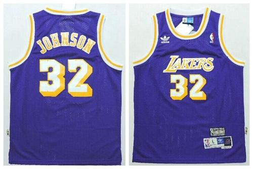 Lakers #32 Magic Johnson Purple Throwback Stitched Youth NBA Jersey
