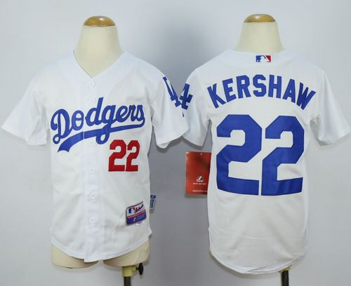 Dodgers #22 Clayton Kershaw White Cool Base Stitched Youth MLB Jersey