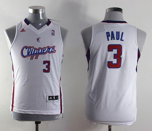 Clippers #3 Chris Paul White Stitched Youth NBA Jersey