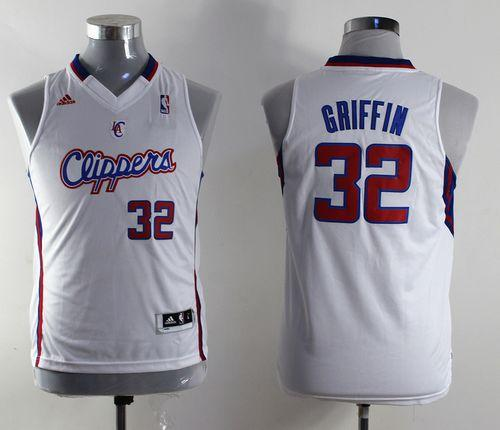 Clippers #32 Blake Griffin White Stitched Youth NBA Jersey