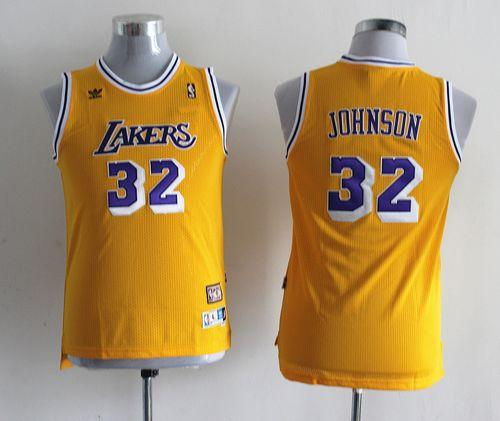Lakers #32 Magic Johnson Yellow Throwback Stitched Youth NBA Jersey