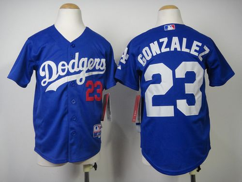 Dodgers #23 Adrian Gonzalez Blue Cool Base Stitched Youth MLB Jersey
