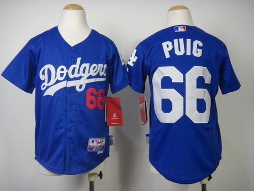 Dodgers #66 Yasiel Puig Blue Cool Base Stitched Youth MLB Jersey