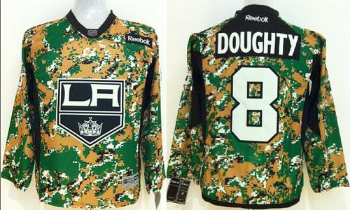 Kings #8 Drew Doughty Camo Veterans Day Practice Stitched Youth NHL Jersey
